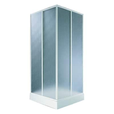 Box doccia quadrato 80 x 80 cm, H 180 cm in acrilico, spessore 1.5 mm vetro acrilico piumato cromato