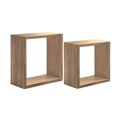 Mensola a cubo L 35 x H 35 cm, Sp 22 mm rovere naturale