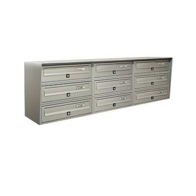 Casellario postale condominiale formato Rivista, argento metallizzato, L 116 x P 30 x H 38 cm