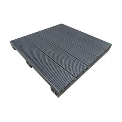 Piastrella NATERIAL Wpc in composito legno composito 50 x 50 cm  Sp 5 mm,  grigio