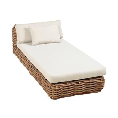 Lettino con cuscino in legno Bora marrone L 201.5 x H 98 cm