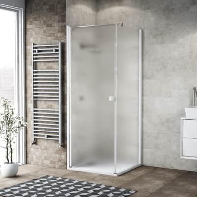 Box doccia battente 100 x 80 cm, H 200 cm in vetro, spessore 6 mm spazzolato bianco