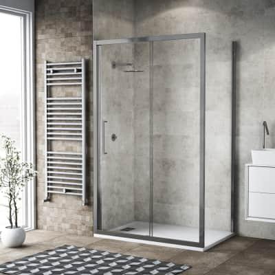 Box doccia scorrevole 110 x 80 cm, H 195 cm in vetro, spessore 6 mm trasparente argento