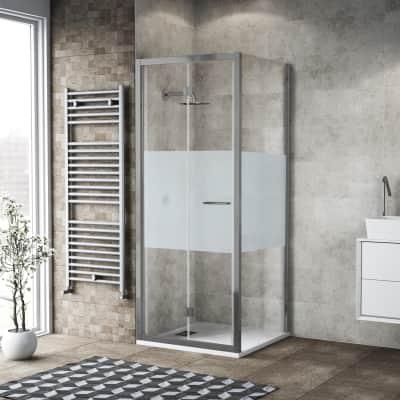 Box doccia pieghevole 80 x 80 cm, H 195 cm in vetro, spessore 6 mm serigrafato argento