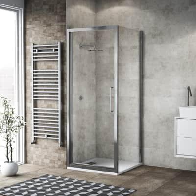 Box doccia battente 135 x 80 cm, H 195 cm in vetro, spessore 6 mm trasparente argento