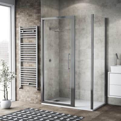 Box doccia battente 130 x 80 cm, H 195 cm in vetro, spessore 6 mm trasparente argento