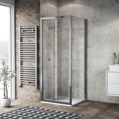 Box doccia battente 90 x 80 cm, H 195 cm in vetro, spessore 6 mm trasparente argento