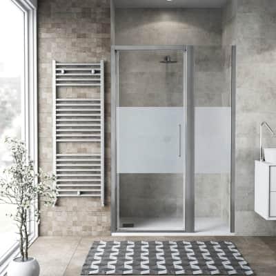 Box doccia battente 130 x 70 cm, H 195 cm in vetro, spessore 6 mm serigrafato argento