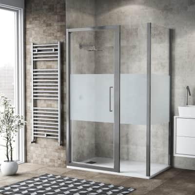 Box doccia battente 130 x 80 cm, H 195 cm in vetro, spessore 6 mm serigrafato argento