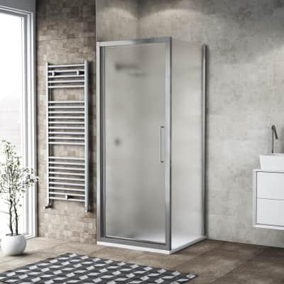 Box doccia battente 75 x , H 195 cm in vetro, spessore 6 mm spazzolato argento