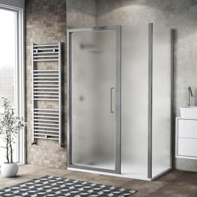 Box doccia battente 110 x 80 cm, H 195 cm in vetro, spessore 6 mm spazzolato argento