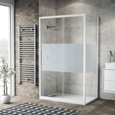 Box doccia scorrevole 140 x 80 cm, H 195 cm in vetro, spessore 6 mm serigrafato bianco