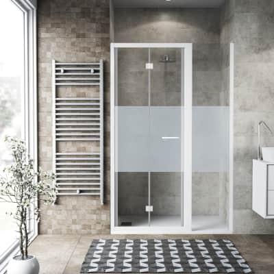 Box doccia pieghevole 130 x 70 cm, H 195 cm in vetro, spessore 6 mm serigrafato bianco