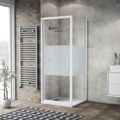Box doccia battente 70 x , H 195 cm in vetro, spessore 6 mm serigrafato bianco