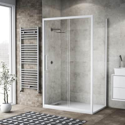 Box doccia scorrevole 150 x 80 cm, H 195 cm in vetro, spessore 6 mm trasparente bianco