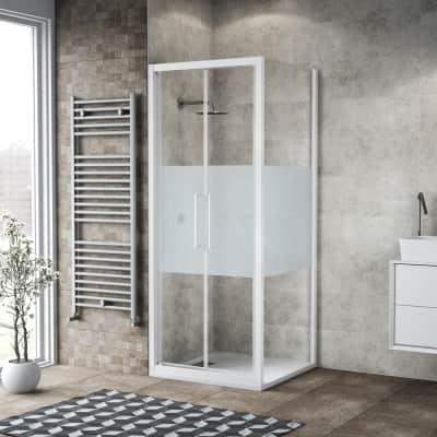Porta doccia 95 x , H 195 cm in vetro, spessore 6 mm serigrafato bianco