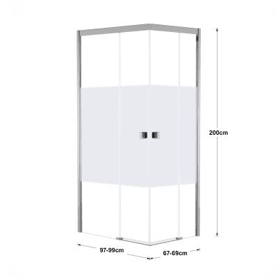 Box doccia scorrevole 70 x 100 cm, H 200 cm in vetro, spessore 6 mm serigrafato cromato