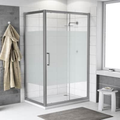 Box doccia quadrato scorrevole Quad 120 x 70 cm, H 190 cm in vetro temprato, spessore 6 mm serigrafato cromato