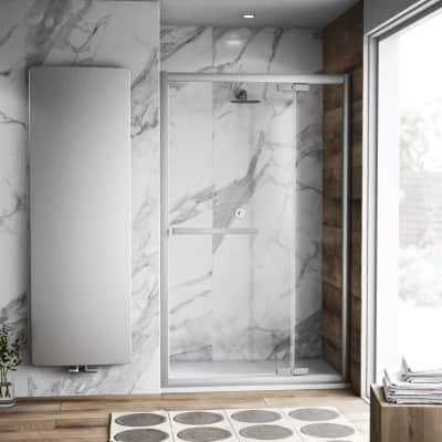 Porta doccia battente Namara 120 cm, H 195 cm in vetro temprato, spessore 8 mm trasparente satinato