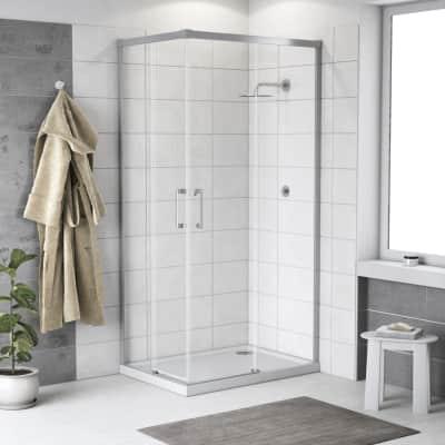 Box doccia rettangolare scorrevole Remix 120 x 120 cm, H 195 cm in vetro temprato, spessore 6 mm trasparente cromato