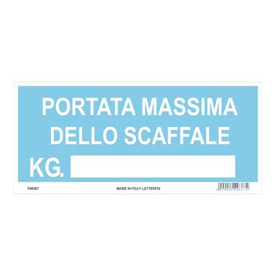 Cartello segnaletico Portata massima pvc 31 x 14 cm