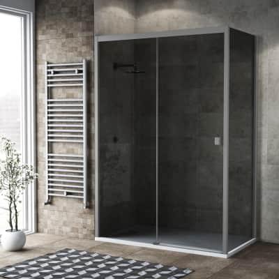 Box doccia scorrevole 140 x 80 cm, H 200 cm in vetro, spessore 6 mm fumé argento