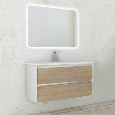 Set mobile da bagno con lavabo 4cento rovere L 100 cm