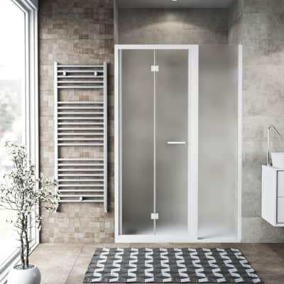 Box doccia pieghevole 120 x 70 cm, H 195 cm in vetro, spessore 6 mm spazzolato bianco