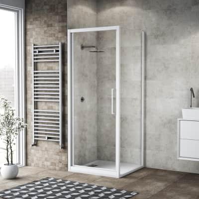 Box doccia battente 85 x 80 cm, H 195 cm in vetro, spessore 6 mm trasparente bianco