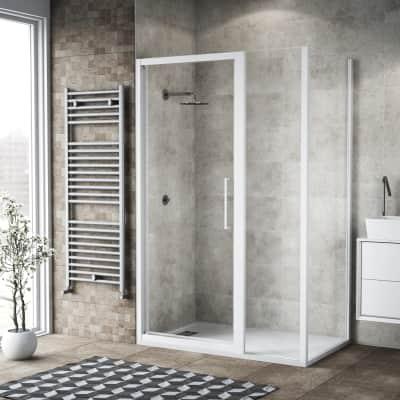 Box doccia battente 140 x 80 cm, H 195 cm in vetro, spessore 6 mm trasparente bianco