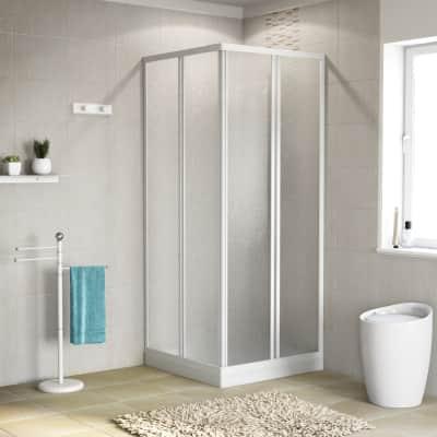 Box doccia quadrato scorrevole 80 x 80 cm, H 185 cm in vetro temprato, spessore 3 mm vetro acrilico piumato bianco