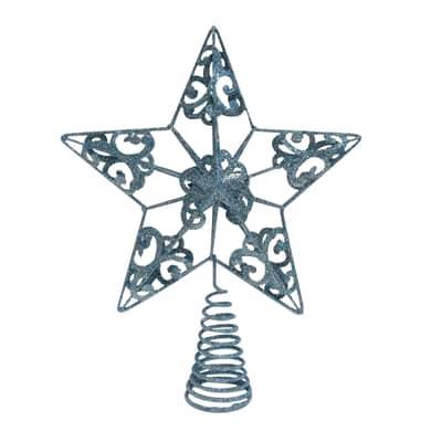 Puntale per albero di natale bluin metallo H 30 cm