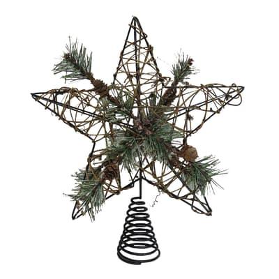 Puntale per albero di natale marrone e verdein metallo H 30 cm