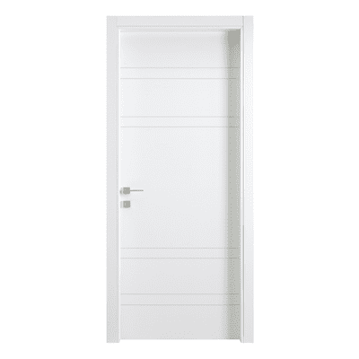 Porta a battente One White Incisa bianco L 80 x H 210 cm reversibile