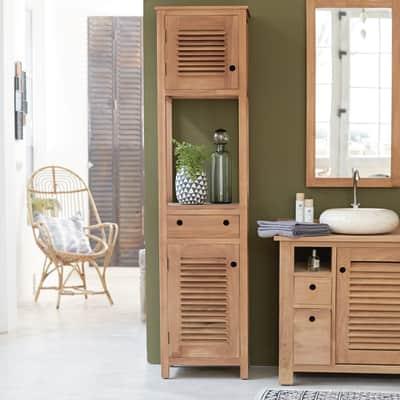 Colonna Coline 1 cassetto 2 ante L 47 x P 40 x H 190 cm marrone legno ed effetto legno TIKAMOON