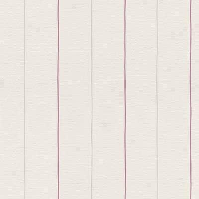Carta da parati Riga cat.righe bianco/rosa
