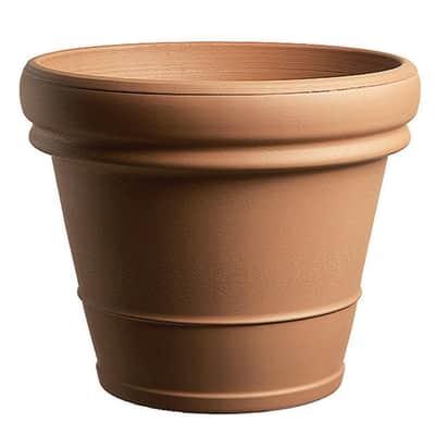 Vaso Doppio bordo liscio in terracotta colore cotto H 31 cm, Ø 35 cm