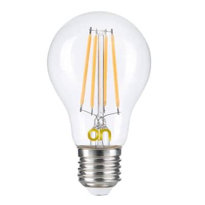 Lampadina smart lighting LED, WIFI, E27, Bulbo, Trasparente, Luce calda, 8W=806LM (equiv 8 W), 360°