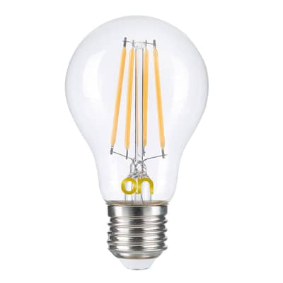 Lampadina smart lighting LED, E27, Bulbo, Trasparente, Luce calda, 8W=806LM (equiv 8 W), 360°