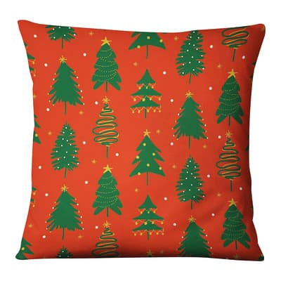 Fodera per cuscino Alberi Natale rosso, verde 45x45 cm