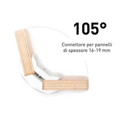 Sistema di assemblaggio playwood 105° in pvc L 152 x  4 pezzi , bianco
