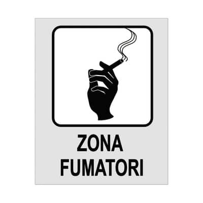 Cartello segnaletico Zona fumatori polipropilene 8 x 10 cm