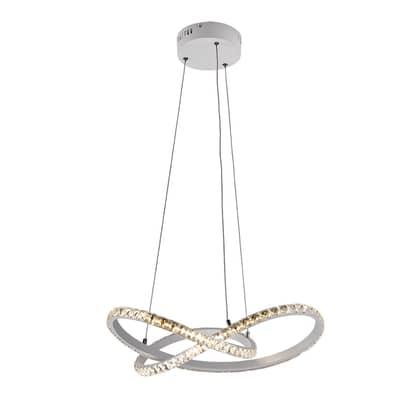 Lampadario Moderno Masy LED integrato bianco, in alluminio, L. 43 cm, NOVECENTO
