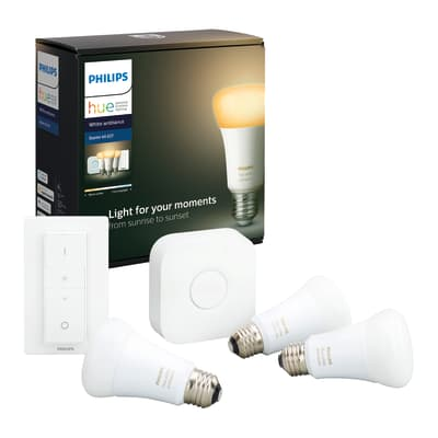 Set di 3  lampadine LED, HUE AMBIENCE BLUETOOTH + BRIDGE + DIMMER, E27, Goccia, Opaco, CCT, 9.5W=806LM (equiv 60 W), 150° , PHILIPS HUE