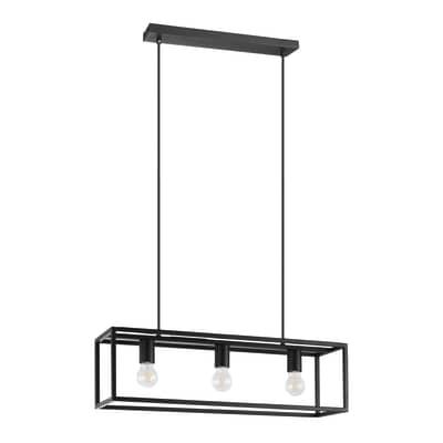 Lampadario Industriale Eldrick nero in acciaio inossidabile, L. 70 cm, 3 luci, EGLO