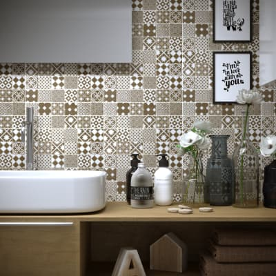 Mosaico Cementine Sabbia H 30 x L 30 cm beige/bianco