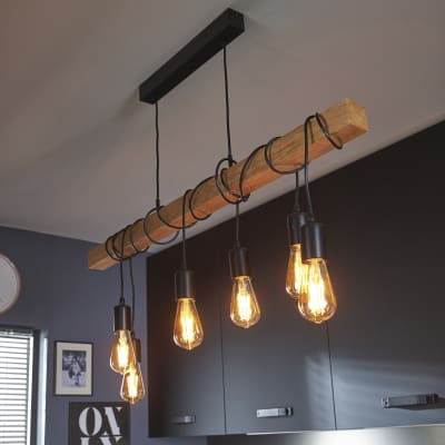 Lampadario Industriale Townshend marrone in metallo, L. 100 cm, 6 luci, EGLO