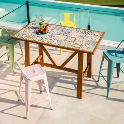 Tavoli In Ceramica Per Esterno.Set Tavolo E Sedie Soho Ceramica In Acacia Multicolore 6 Posti