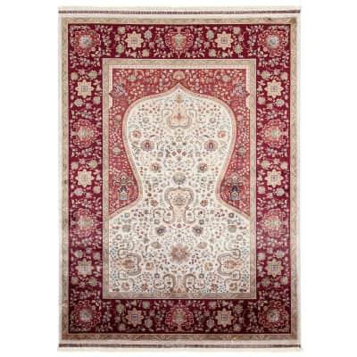 Tappeto Qoum Shah 1 in cotone, beige, 67x110 cm