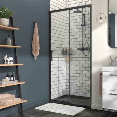 Porta doccia 1 anta fissa + 1 anta scorrevole Remix 120 cm, H 195 cm in vetro, spessore 8 mm trasparente nero